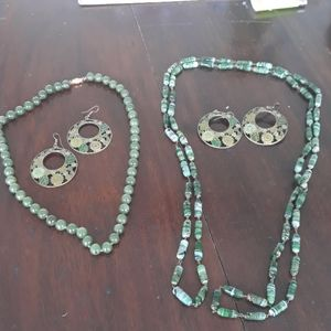 Two necklaces and two pairs of earrings